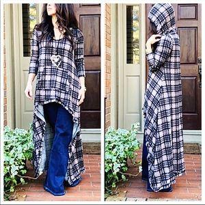 Dresses & Skirts - High/low chic plaid side pocket hooded dress